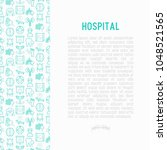 hospital concept with thin line ... | Shutterstock .eps vector #1048521565