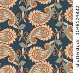 paisley floral vector... | Shutterstock .eps vector #1048524832