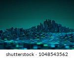 futuristic technology data... | Shutterstock . vector #1048543562