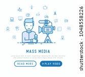 mass media concept  journalist... | Shutterstock .eps vector #1048558226