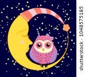 cute cartoon sleeping owl in... | Shutterstock . vector #1048575185