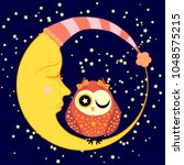 cute cartoon sleeping owl in... | Shutterstock . vector #1048575215