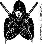 hooded armed and dangerous   Shutterstock .eps vector #1048578242