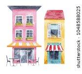 a cute set of watercolor... | Shutterstock . vector #1048588025