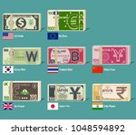 foreign bundle of banknote on... | Shutterstock .eps vector #1048594892
