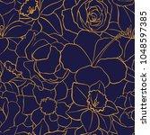vintage vector floral seamless... | Shutterstock .eps vector #1048597385