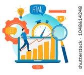 seo  search engine optimization ... | Shutterstock .eps vector #1048614248