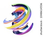 3d render  abstract twisted... | Shutterstock . vector #1048614536