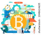 bitcoin  blockchain technology  ... | Shutterstock .eps vector #1048614635