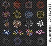 festive fireworks isolated on... | Shutterstock .eps vector #1048614695