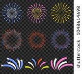 festive fireworks isolated on... | Shutterstock .eps vector #1048614698