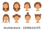 little girl hair set. face of a ... | Shutterstock .eps vector #1048616195