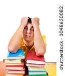 tired student sleep with a... | Shutterstock . vector #1048630082
