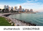 Stock photo qatar doha city skyline with sea 1048639868