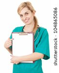 young woman doctor with stethoscope pointink on clipboard, white background - stock photo