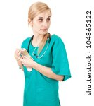 bribe in medicine - frightened doctor woman taking euro, white background - stock photo