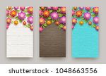 artificial paper flowers on a... | Shutterstock .eps vector #1048663556