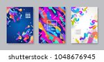 set of cover with abstract... | Shutterstock .eps vector #1048676945