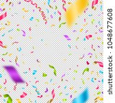 multicolored confetti on a... | Shutterstock .eps vector #1048677608