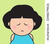 closeup portrait sad upset girl ...   Shutterstock .eps vector #1048679816