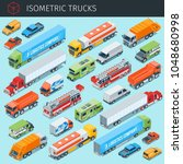 isometric cargo trucks with... | Shutterstock .eps vector #1048680998