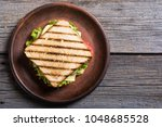 club sandwich with tomatoes  ... | Shutterstock . vector #1048685528