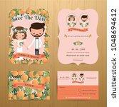 orange orchard theme wedding... | Shutterstock .eps vector #1048694612