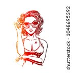 hello summer  woman in bikini... | Shutterstock .eps vector #1048695392