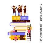 happy graduate characters...   Shutterstock .eps vector #1048703042