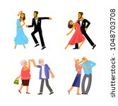 happy people in different ages... | Shutterstock .eps vector #1048703708