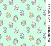 easter eggs pattern. spring... | Shutterstock .eps vector #1048704188