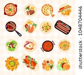 big set of various food dishes...   Shutterstock .eps vector #1048704446