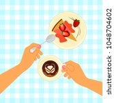 hands holding a cup of coffee....   Shutterstock .eps vector #1048704602