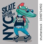 skater  crocodile vector design | Shutterstock .eps vector #1048716902