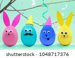 happy easter concept. colorful...   Shutterstock . vector #1048717376