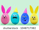 happy easter concept. colorful...   Shutterstock . vector #1048717382