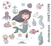 marine illustrations set.... | Shutterstock .eps vector #1048719398