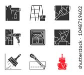 construction tools glyph icons... | Shutterstock .eps vector #1048719602
