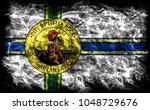 little rock city smoke flag ... | Shutterstock . vector #1048729676