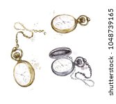 pocket watches. watercolor... | Shutterstock . vector #1048739165