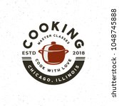 vintage cooking classes logo.... | Shutterstock .eps vector #1048745888