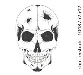 Vector Illustration Of A Skull...
