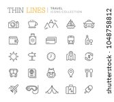 collection of travel thin line... | Shutterstock .eps vector #1048758812