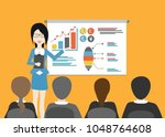woman give presentation with... | Shutterstock . vector #1048764608