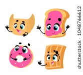 breakfast. funny characters...   Shutterstock .eps vector #1048766612