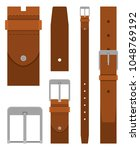brown leather belt with buckle... | Shutterstock .eps vector #1048769192