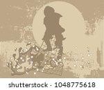 silhouette of fisherman on...   Shutterstock .eps vector #1048775618