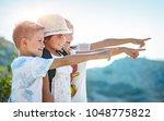portrait of a three happy... | Shutterstock . vector #1048775822