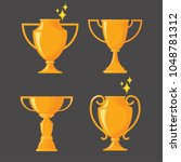 flat design of trophy cup.... | Shutterstock .eps vector #1048781312