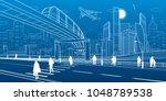 monorail bridge across the... | Shutterstock .eps vector #1048789538